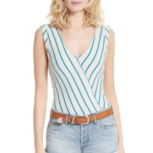 Free People V Neck Surplice Striped Tank Top NWT